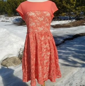 Danny & nichole orange lace dress size 4